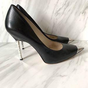 Michael Kors Black Leather Silver tIp Heel Shoes